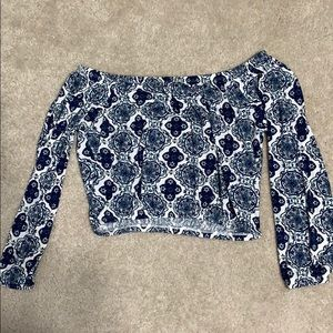 Blue Patterned Long Sleeve top
